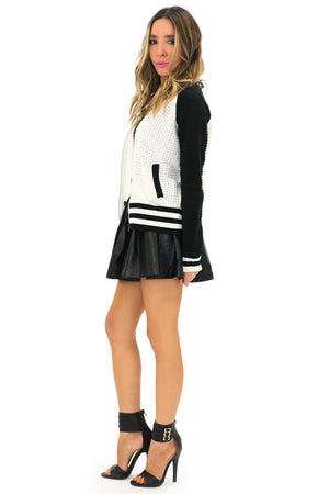 VARISITY KNIT BOMBER JACKET - Haute & Rebellious