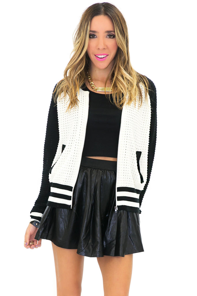 VARISITY KNIT BOMBER JACKET
