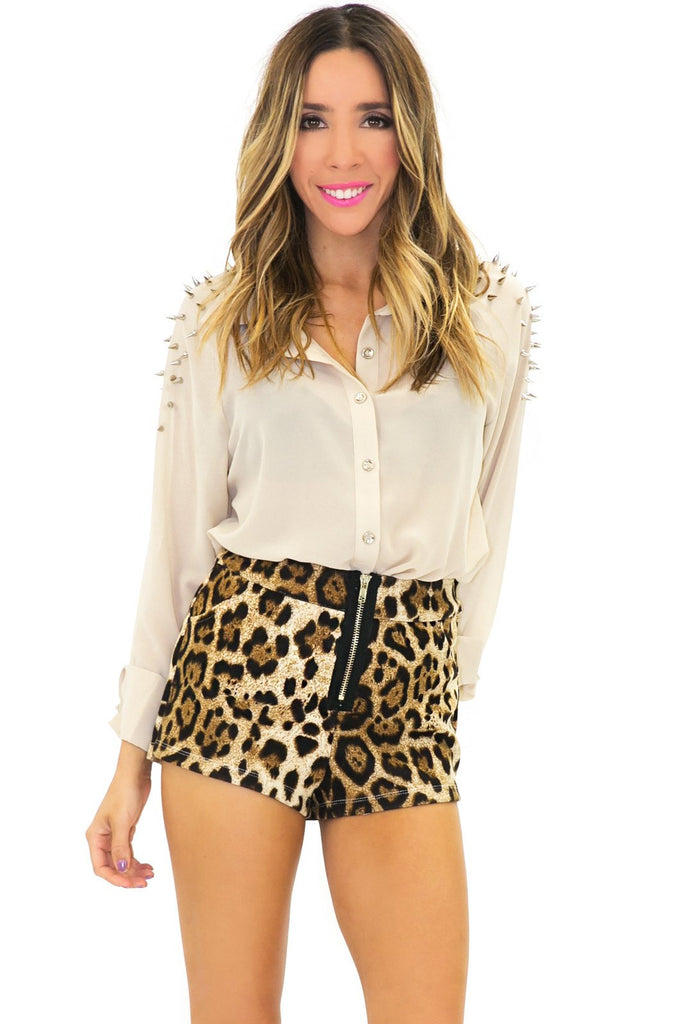 BRENT SPIKED SHOULDER CHIFFON BLOUSE