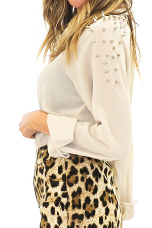 BRENT SPIKED SHOULDER CHIFFON BLOUSE - Haute & Rebellious