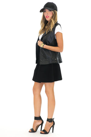 LEATHER BIKER VEST - Black - Haute & Rebellious