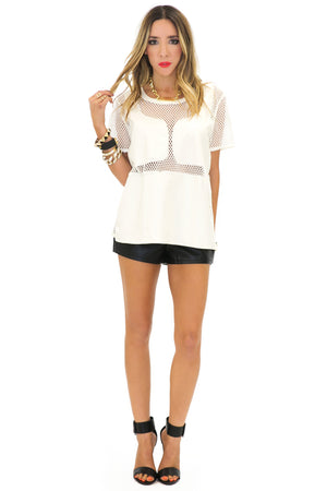 WANG MESH CONTRAST VEGAN LEATHER TOP - White - Haute & Rebellious