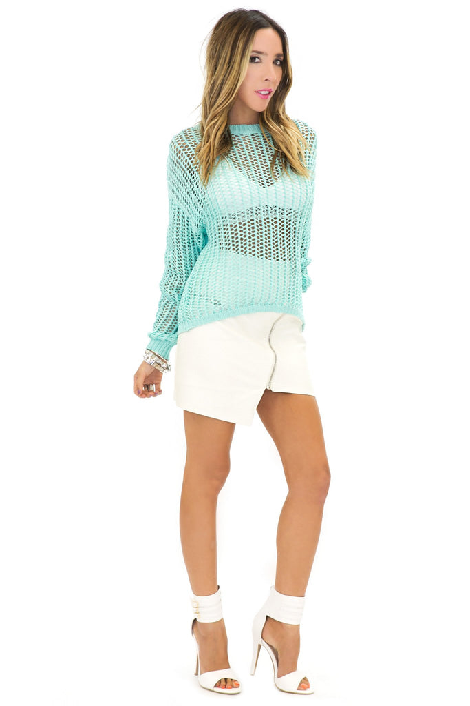 MOANNA CHUNK KNIT SWEATER - Mint