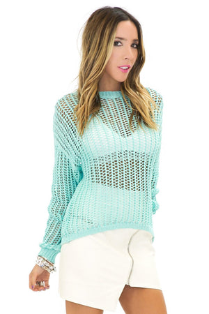 MOANNA CHUNK KNIT SWEATER - Mint - Haute & Rebellious
