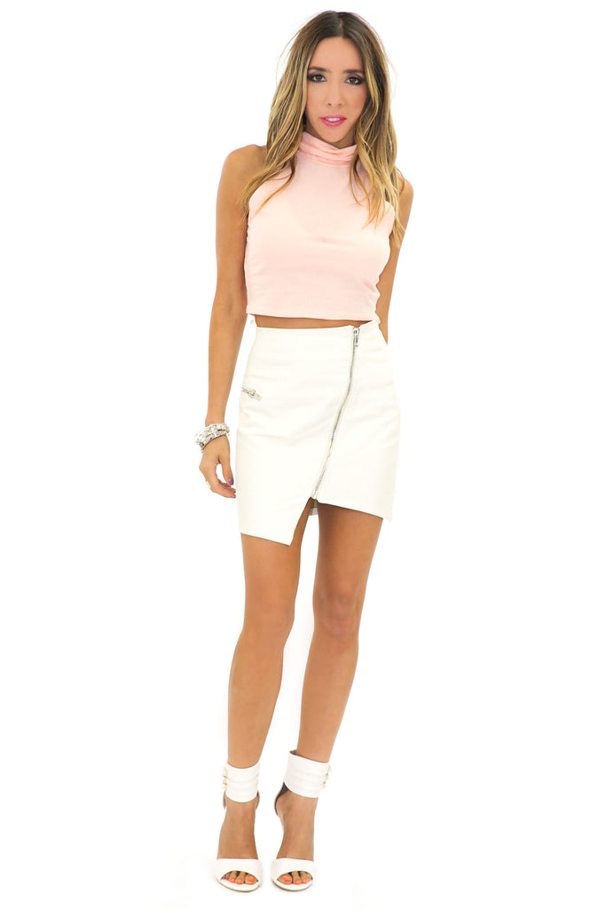 TURTLENECK CROP TOP - Peach