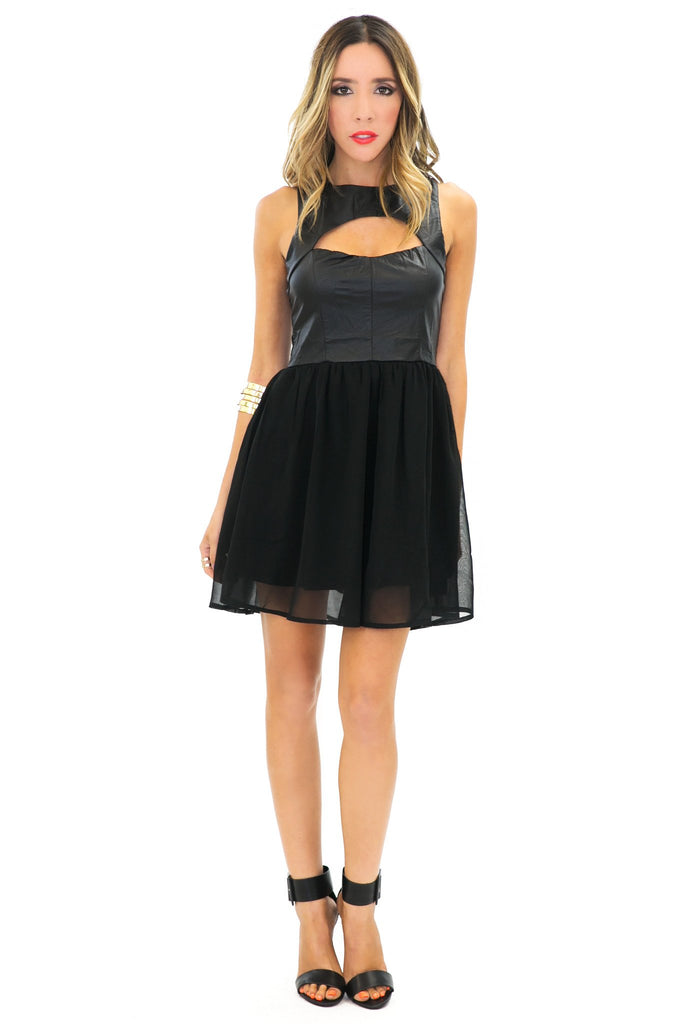 DINA CONTRAST A-LINE DRESS