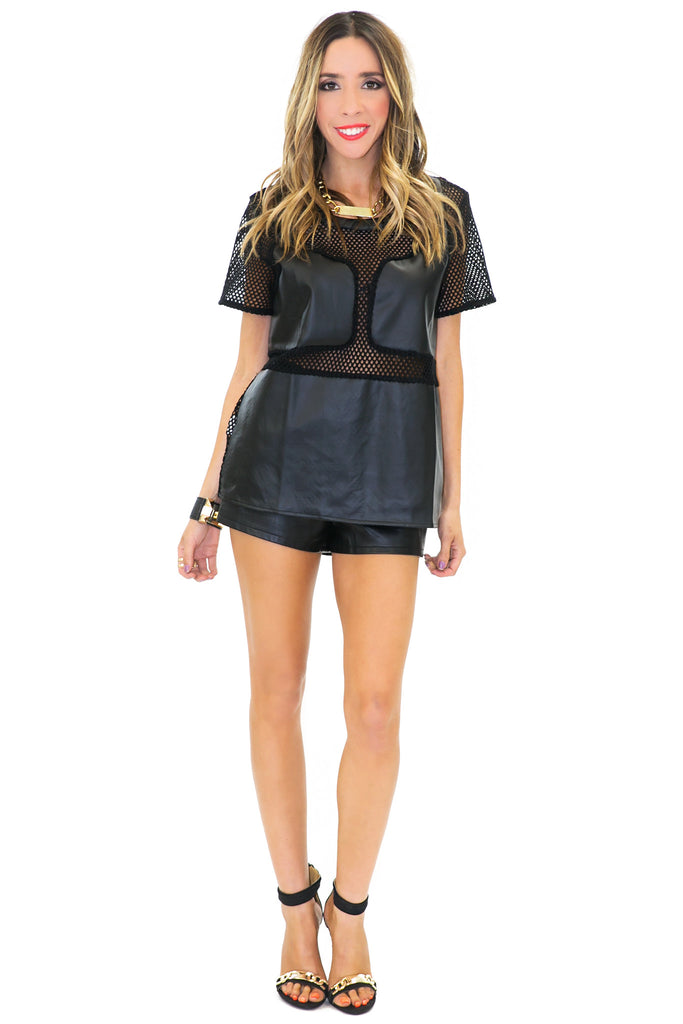 WANG MESH CONTRAST VEGAN LEATHER TOP - Black