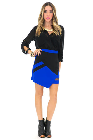 BLAIR COLORBLOCK ASYMMETRICAL SKIRT - Haute & Rebellious
