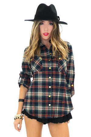 BIRCH PLAID FLANNEL SHIRT - Blue - Haute & Rebellious