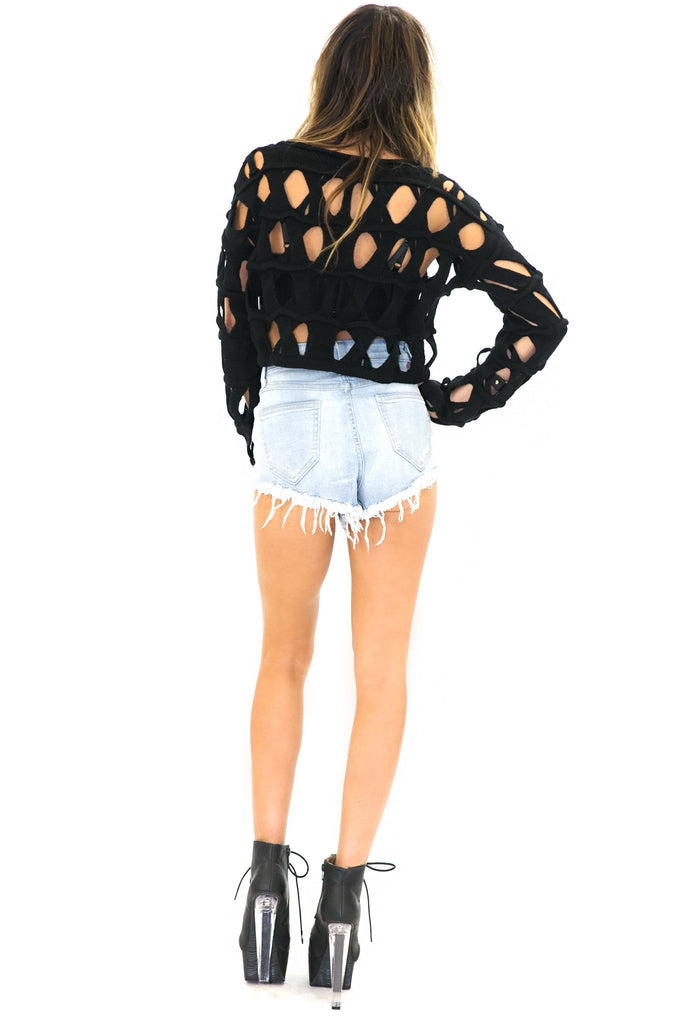 BECKET HOLED CROP SWEATER - Black