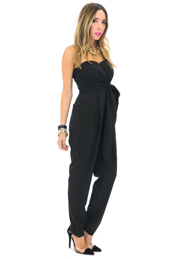 CANDENCE STRAPLESS BOW TIE JUMPSUIT - Black - Haute & Rebellious