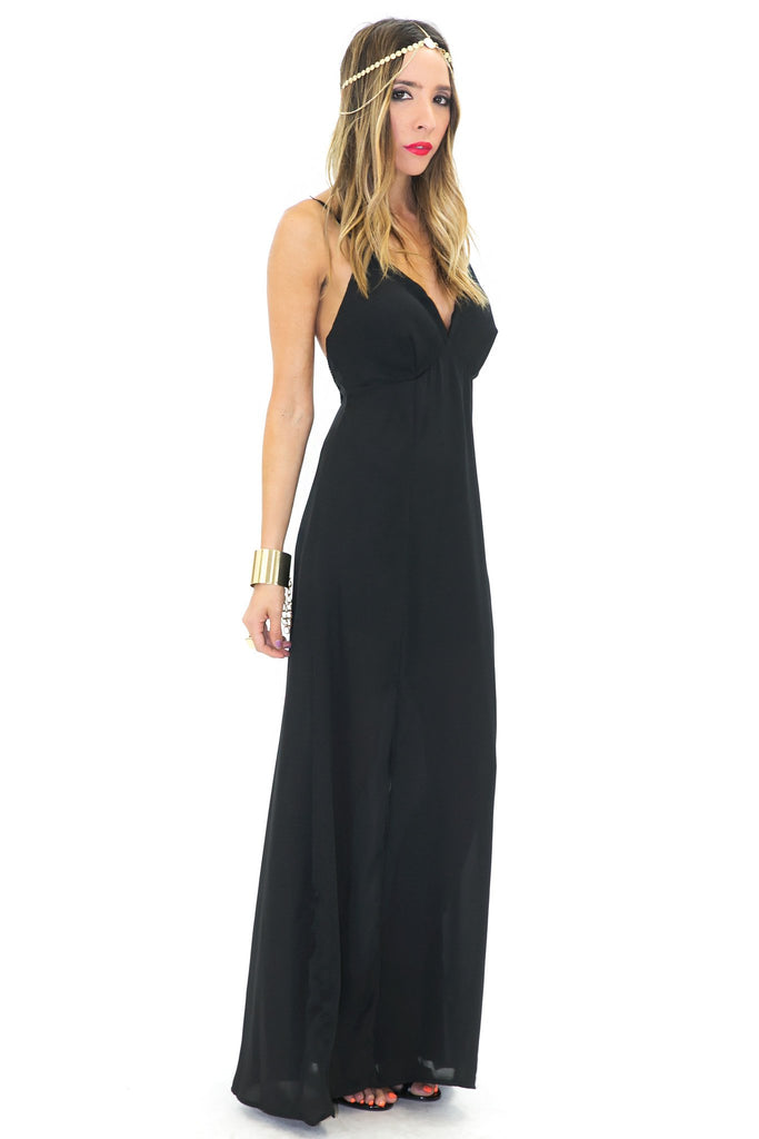 FLOR SPAGHETTI STRAP CHIFFON DRESS - Black