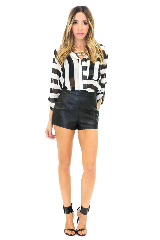 SHEA STRIPED CHIFFON BLOUSE