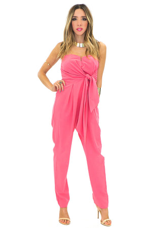 CANDENCE STRAPLESS BOW TIE JUMPSUIT - Pink - Haute & Rebellious