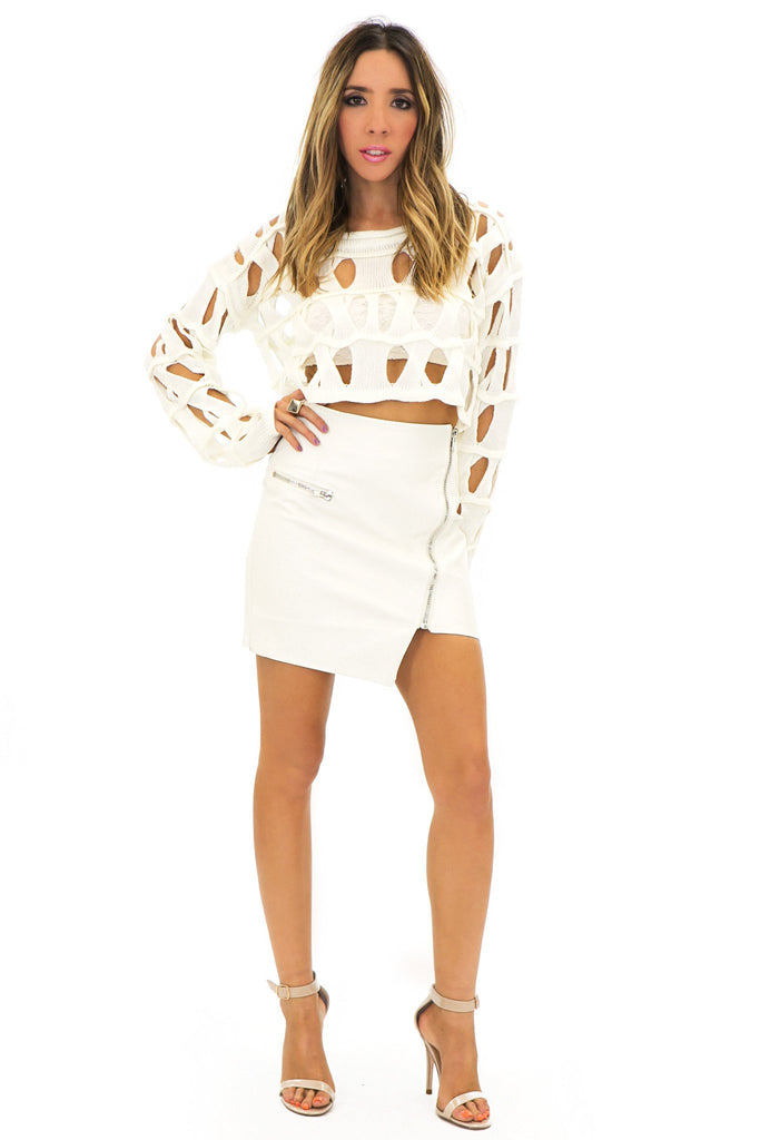 BECKET HOLED CROP SWEATER - White