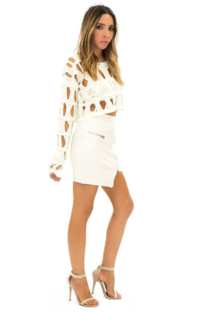 BECKET HOLED CROP SWEATER - White - Haute & Rebellious