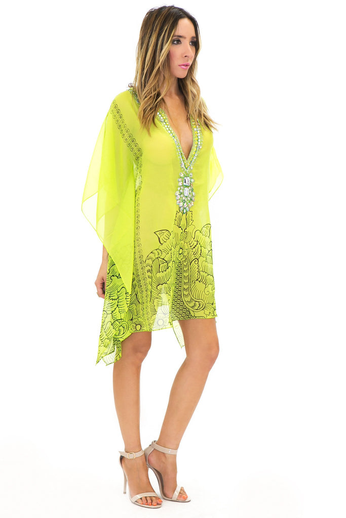 NIAMBI EMBELLISHED BEACH COVER UP TOP - Lime