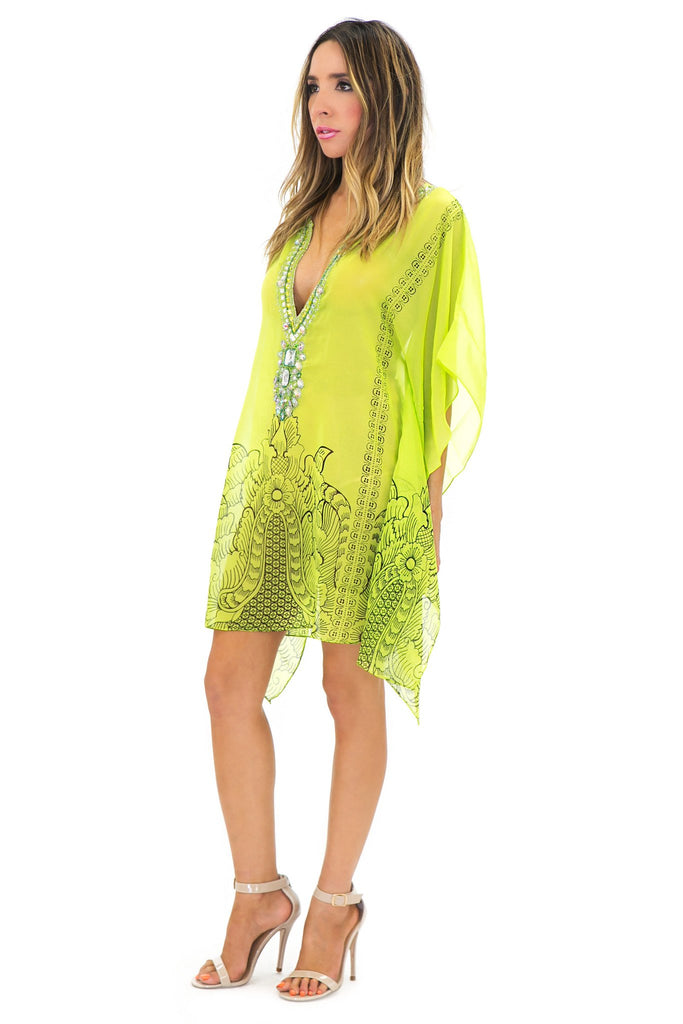 NIAMBI EMBELLISHED BEACH COVER UP TOP - Lime - Haute & Rebellious