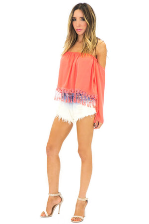 LACE FRINGE BELL SLEEVE TOP - Coral - Haute & Rebellious