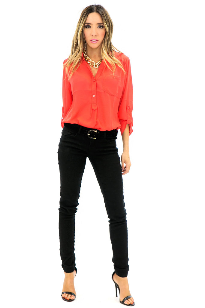 NINA CHIFFON BLOUSE - Red