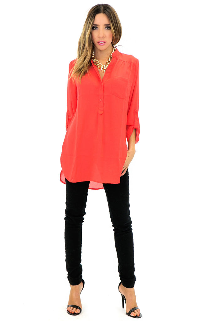 NINA CHIFFON BLOUSE - Red - Haute & Rebellious