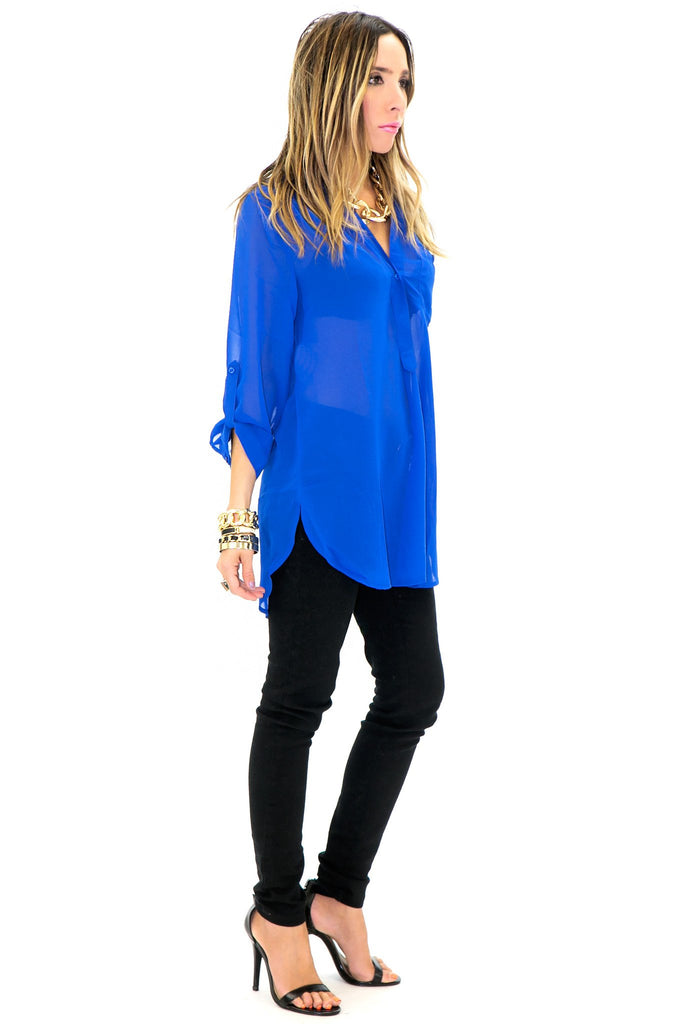 DANDY CHIFFON BLOUSE - Royal Blue