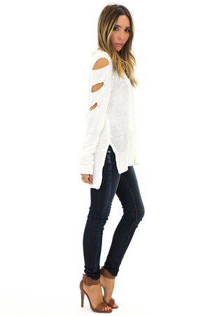 JACK CUT SLEEVE SWEATER - White - Haute & Rebellious