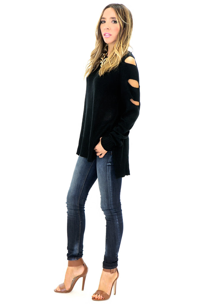 JACK CUT SLEEVE SWEATER - Black