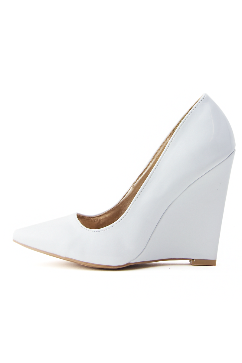 WHITE OUT WEDGE PUMP - White - Haute & Rebellious