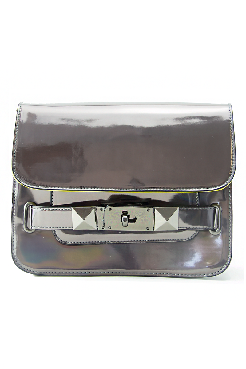 PS HOLOGRAPHIC METALLIC BAG - Heather Gray - Haute & Rebellious