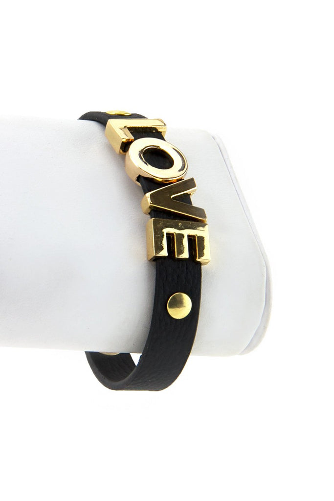 GOLD LOVE LEATHER BRACELET - Black