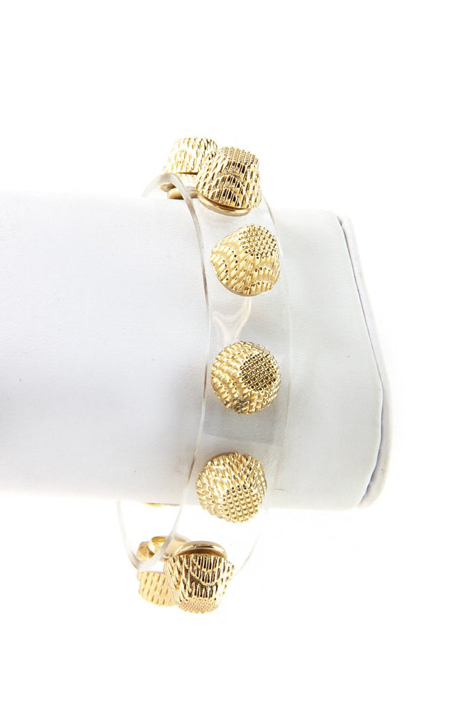 HEAVY GOLD STUD BRACELET - Clear/Gold