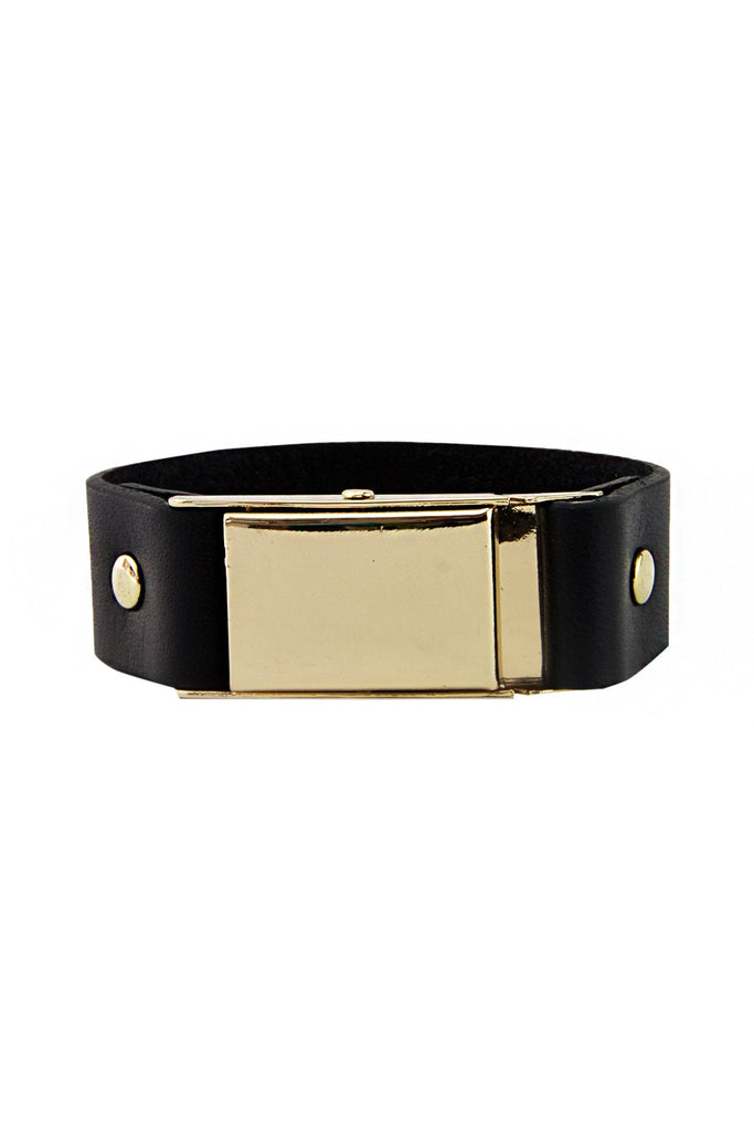 GOLD BUCKLE LEATHER BRACELET - Black - Haute & Rebellious