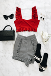 Ruffle Crop Top - Red