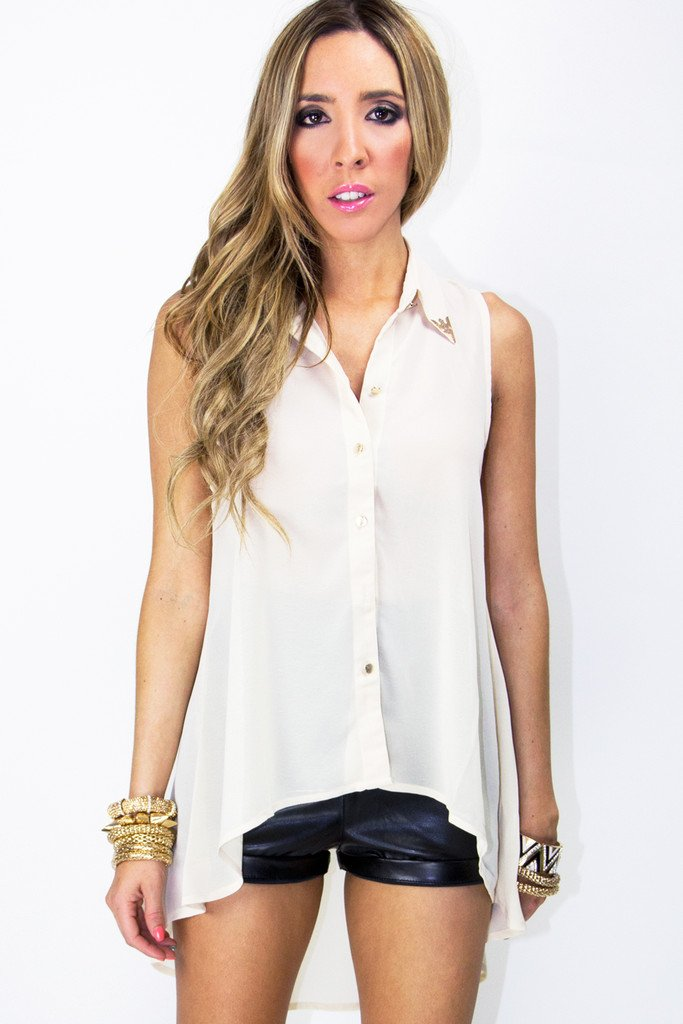 EMMA EMBELLISHED COLLAR HIGH-LOW BLOUSE (Final Sale)