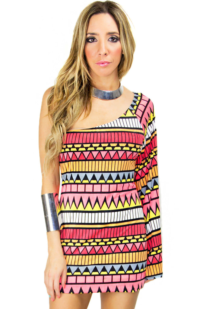 ONE SHOULDER TRIBAL PRINT DRESS