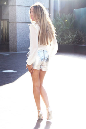 METALLIC SILVER LEATHER SHORTS - Haute & Rebellious