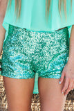 MINT SEQUIN SHORTS