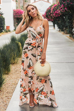 Tropical Escape Floral Wrap Maxi Dress /// Only 1-M Left /// - Haute & Rebellious