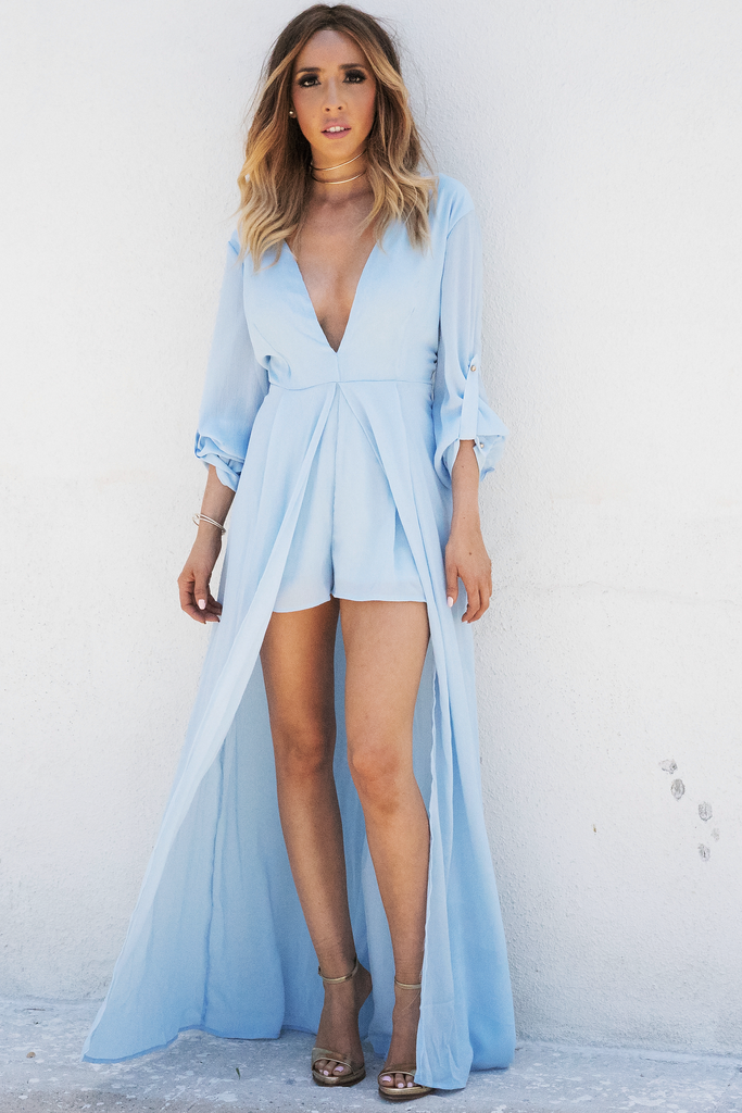 All I See Maxi with Shorts Dress - Powder Blue /// ONLY 1-M LEFT///