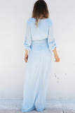 All I See Maxi with Shorts Dress - Powder Blue