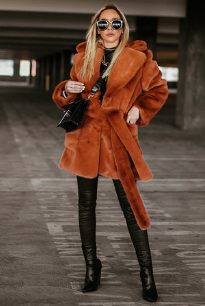 Luxe Short Faux Fur Coat - Burnt Orange