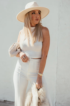Turtleneck Crop Top - White
