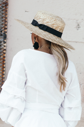 Flat Brim Straw Hat - Natural - Haute & Rebellious