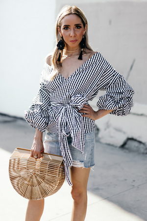 So Me Gingham Wrap Ruched Sleeve Top - Haute & Rebellious