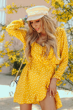 Polka Dot Wrap Dress with Ruffle