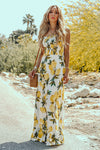 Lemon Print Open Back Maxi Dress