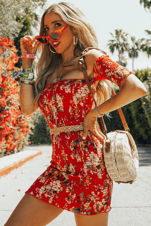 Off-Shoulder Print Mini Dress
