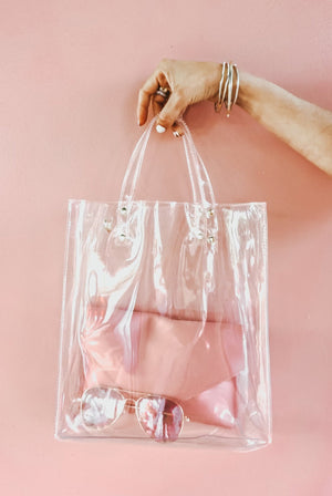 Clear Bag with Pink Clutch