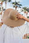 Straw Wide Brim Beach Hat - Khaki - Haute & Rebellious